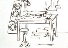 Alte Zeichnung werkstatt studio Stockfotografie