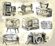 Alte Zeit-ursprüngliche Hand gezeichnetes Set Stockfoto