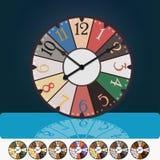 Alte Zeiten Coloroful-Weinlese-Uhrillustration Lizenzfreies Stockbild