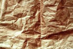 Alte zerknitterte Beschaffenheit des braunen Papiers Stockbild