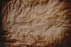 Alte zerknitterte Beschaffenheit des braunen Papiers, Papierbeschaffenheitshintergrund, zerknitterte Beschaffenheit Stockfotografie