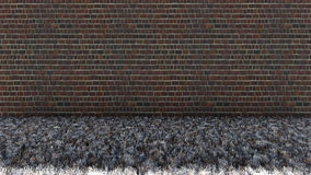 Alte Ziegelstein-Wand-und trockenes Gras-Boden lizenzfreies stockfoto