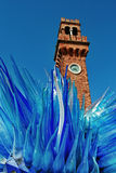 Alte Ziegelsteinturmuhr auf murano Insel Venedig Stockfotografie