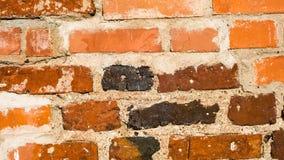 Alte Ziegelsteinwandbeschaffenheit des roten Lehms für Hintergrund Stockfoto