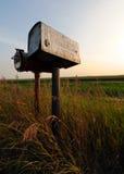Alte Zinn-Straßenrand-Mailbox im Grasland Lizenzfreies Stockfoto