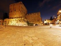 Alte Zitadelle innerhalb der alten Stadt nachts, Jerusalem Lizenzfreies Stockbild