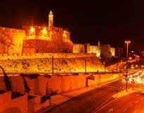 Alte Zitadelle innerhalb der alten Stadt nachts, Jerusalem Stockbilder