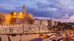 Alte Zitadelle innerhalb der alten Stadt nachts, Jerusalem Stockfotografie