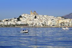 Altea Alicante province Spain view from blue sea. Altea Alicante province Spain view from Mediterranean blue sea royalty free stock images