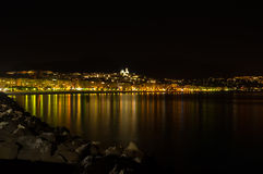Altea bay. Reflecting the lights of the old town Royalty Free Stock Images