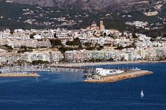Altea Bay. Port and town of Altea in Alicante; Spain Royalty Free Stock Photos