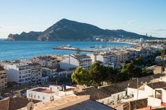Altea old town. Altea bay as seen form its hilltop old town Stock Image