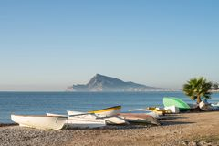 Altea bay with fishing boats Royalty Free Stock Images