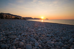 Altea bay. Sunrise on the calm waters of Altea bay, Costa Blanca, Spain Stock Image
