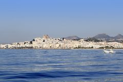 Altea from blue sea Mediterranean white village Royalty Free Stock Photo