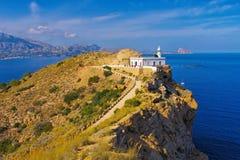 Altea lighthouse Faro del Albir, Costa Blanca Stock Image