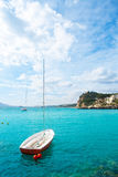 Altea Mediterranean sea detail with sailboat in alicante Stock Photography
