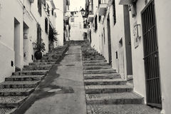 Altea old town. Narrow old town street in Altea, Costa Blanca, Spain Stock Image