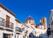 Altea old village Church typical Mediterranean. At Alicante Spain Royalty Free Stock Photo