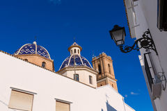 Altea old village Church typical Mediterranean Royalty Free Stock Photos