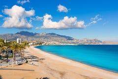 Altea Playa del Albir of white stones in Alicante stock images