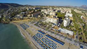 Altea Playa del Albir of white stones in Alicante Mediterranean. Aerial view of a sunny morning in Spanish Town along Costa Blanca, Albir. Norwegian asylum near Royalty Free Stock Image