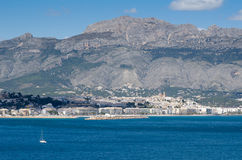 Altea seen from its bay waters Stock Photos