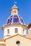 Altea, Spain - March 9 2018: Dome and tower of the Virgin of the Consol church in Altea, Spain. Altea, Spain - March 9, 2018: Dome and tower of the Virgin of the stock photos