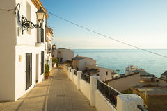 Altea street landscape. Charming  Altea old town  street,  Costa Blanca, Spain Royalty Free Stock Photography