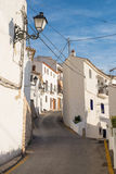 Altea street. Narrow whitewashed street in the old town of Altea, Costa Blanca, Spain Royalty Free Stock Photos