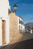 Altea street. Narrow whitewashed street in the old town of Altea, Costa Blanca, Spain Stock Photography