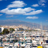 Altea village in alicante with marina boats foreground Stock Photo