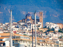 Altea village in alicante with marina boats foreground Royalty Free Stock Images