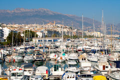 Altea village in alicante with marina boats foreground Royalty Free Stock Image