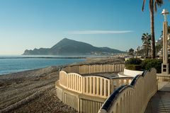 Altea. Waterfront promenade on  a sunny winter morning, Costa Blanca, Alicante, Spain Royalty Free Stock Photography