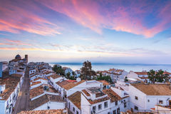 Altea white houses at sunset in Costa Blanca, Spain Royalty Free Stock Photography