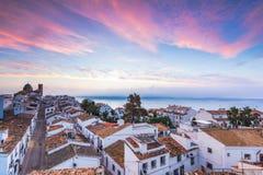 Altea witte huizen bij zonsondergang in Costa Blanca, Spanje royalty-vrije stock fotografie
