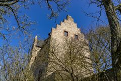 Altenbaumburg Castle is the ruin of a spur castle on a ridge abo royalty free stock images