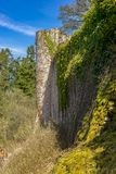 Altenbaumburg Castle is the ruin of a spur castle on a ridge abo Stock Images