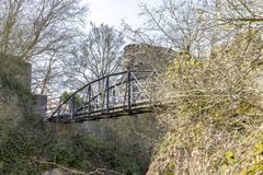 Bridge. Altenbaumburg Castle is the ruin of a spur castle on a r royalty free stock photography