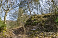 Altenbaumburg Castle is the ruin of a spur castle on a ridge abo royalty free stock image