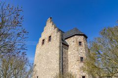 Altenbaumburg Castle is the ruin of a spur castle on a ridge above Altenbamberg in Alsenz Valley in Rhineland-Palatinate, Germany stock photo