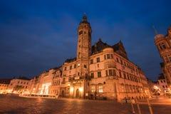 Altenburg Deutschland - Mai 2018: das Rathaus und der Markt nachts Stockbild