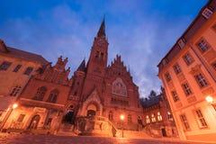 Altenburg Deutschland - Mai 2018: die Bruder-Kirche vor dem blauen Sommerhimmel Bruederkirche Lizenzfreies Stockbild
