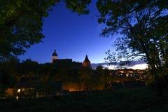 Altenburg Niemcy, Maj 2018 -: imponująco siedziba kasztel przed błękitnym nocy lata niebem obraz royalty free