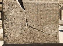 Alter ägyptischer Kalender graviert auf der Steinwand des Tempels von Karnak, Luxor, Ägypten stockfoto