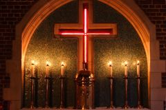 The Alter. Small sanctuary lit with candles Royalty Free Stock Photo
