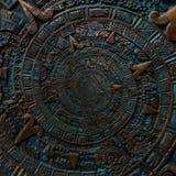 Alter antiker klassischer gewundener aztekischer Verzierungsmusterdekorations-Designbronzehintergrund Surrealistischer abstrakter stockfoto