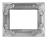 Alter antiker silberner Rahmen auf dem weißen Hintergrund Lizenzfreie Stockfotos