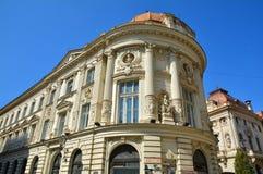 Alter Architekturabschluß oben, alte Stadt von Bukarest Stockfoto